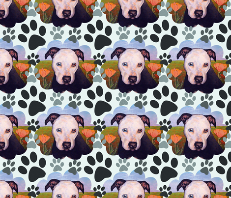 Pibble In The Poppies fabric by lindiart on Spoonflower - custom fabric