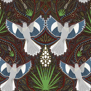 Mockingbird and Yucca damask on Brown