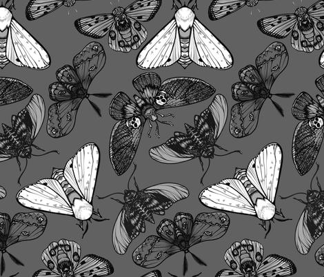 Grey Moths fabric by jadegordon on Spoonflower - custom fabric