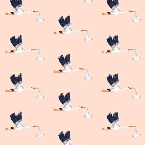 STORK light peach fabric by thistleandfox on Spoonflower - custom fabric
