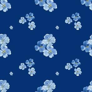 Little Blue Flowers Dark Blue Background