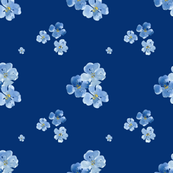 Little Blue Flowers Dark Blue Background