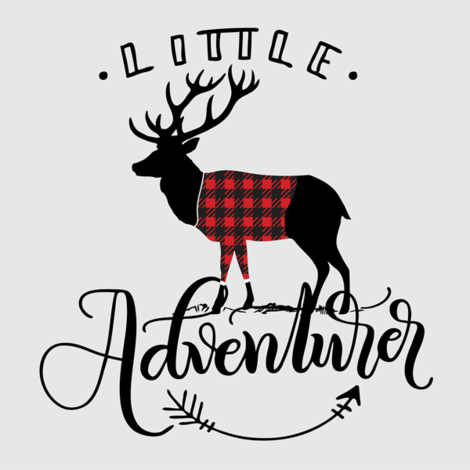 "8"" Quilt block - Little adventurer - Deer with buffalo plaid sweater fabric by howjoyful on Spoonflower - custom fabric"