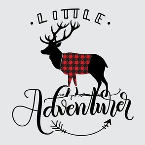 "8"" Quilt block - Little adventurer - Deer with buffalo plaid sweater"