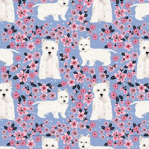 westie cherry blossom fabric - dog fabric cherry blossoms fabric - cerulean