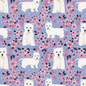 westie cherry blossom fabric - dog fabric cherry blossoms fabric - cerulean