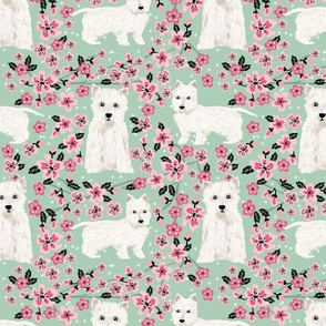 westie cherry blossom fabric - dog fabric cherry blossoms fabric - mint