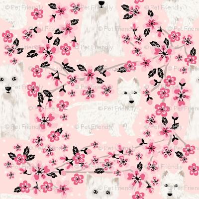 westie cherry blossom fabric - dog fabric cherry blossoms fabric - light pink