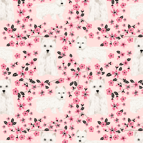 westie cherry blossom fabric - dog fabric cherry blossoms fabric - light pink fabric by petfriendly on Spoonflower - custom fabric