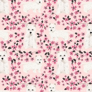 westie cherry blossom fabric - dog fabric cherry blossoms fabric - light pink