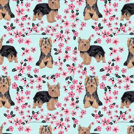 yorkie cherry blossom fabric - yorkshire terrier dog fabric cherry blossoms fabric - blue tint fabric by petfriendly on Spoonflower - custom fabric