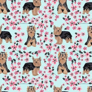 yorkie cherry blossom fabric - yorkshire terrier dog fabric cherry blossoms fabric - blue tint