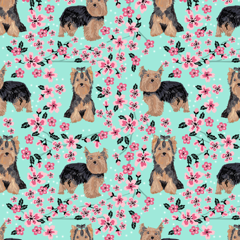yorkie cherry blossom fabric - yorkshire terrier dog fabric cherry blossoms fabric- aqua fabric by petfriendly on Spoonflower - custom fabric