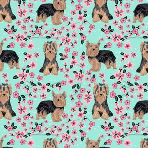 yorkie cherry blossom fabric - yorkshire terrier dog fabric cherry blossoms fabric- aqua