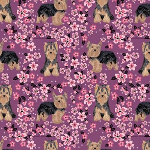 yorkie cherry blossom fabric - yorkshire terrier dog fabric cherry blossoms fabric - amethyst