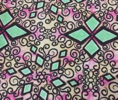 Project 260 | Zentangle Diamonds | Green on Pink and Rust