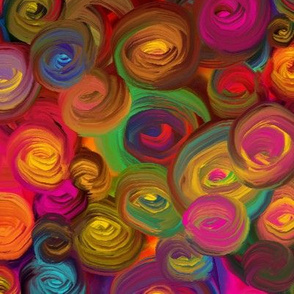 PAINTED ABSTRACT ROSES BRIGHT ORIGINAL