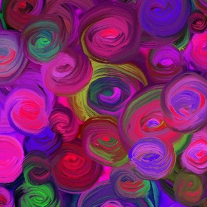 PAINTED ABSTRACT ROSES PASSION LOVE FUCHSIA