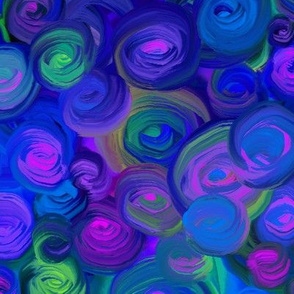 PAINTED ABSTRACT ROSES MIDNIGHT BLUE PEACOCK