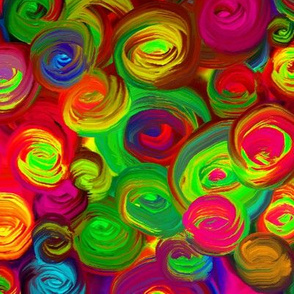PAINTED ABSTRACT ROSES NEON GLOW