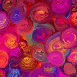 PAINTED ABSTRACT ROSES red sunset