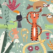 Rain forest animals pattern 001