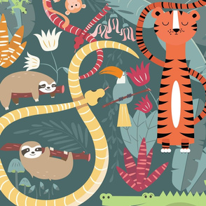 Rain forest animals pattern 002