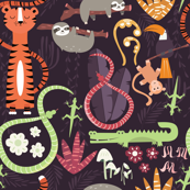 Rain forest animals pattern 003