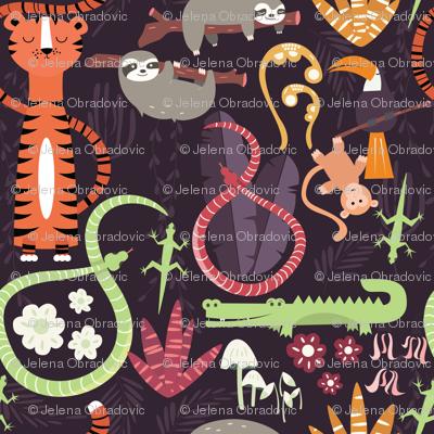 Rain forest animals pattern 003