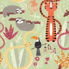 Rain forest animals pattern 004