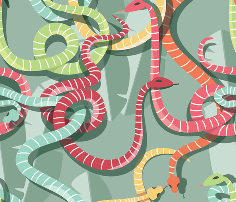Snakes 002 fabric by bluelela on Spoonflower - custom fabric