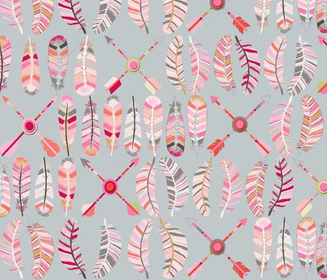 motif_plume_fl_che_fond_gris_L fabric by nadja_petremand on Spoonflower - custom fabric