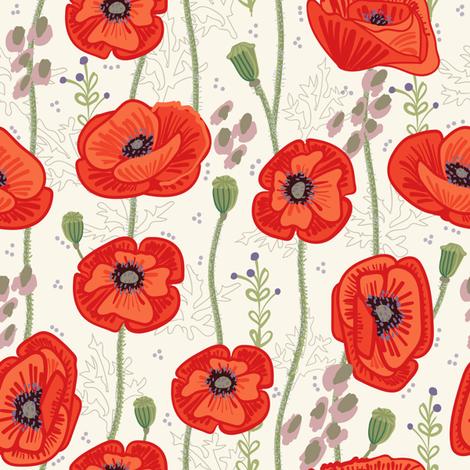 Spring Poppies fabric by teresamagnuson on Spoonflower - custom fabric
