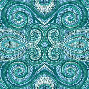 Mosaic Swirls | Blues + Greens