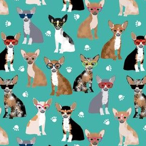 chihuahua dog fabric glasses dog fabric dogs design - turquoise