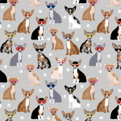 chihuahua dog fabric glasses dog fabric dogs design - grey fabric by petfriendly on Spoonflower - custom fabric