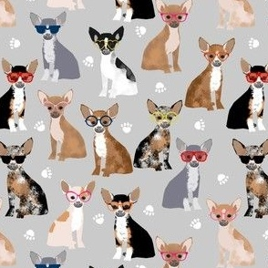chihuahua dog fabric glasses dog fabric dogs design - grey