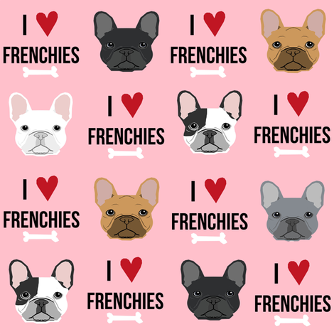 frenchie dog fabric - i love french bulldogs fabric - frenchie face - pink fabric by petfriendly on Spoonflower - custom fabric