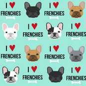 frenchie dog fabric - i love french bulldogs fabric - frenchie face - aqua