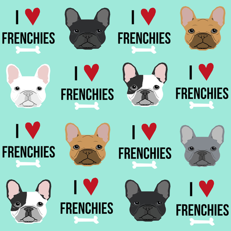 frenchie dog fabric - i love french bulldogs fabric - frenchie face - aqua fabric by petfriendly on Spoonflower - custom fabric