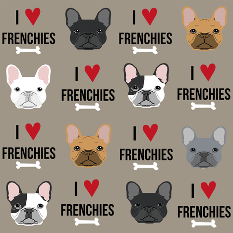 frenchie dog fabric - i love french bulldogs fabric - frenchie face - medium brown fabric by petfriendly on Spoonflower - custom fabric
