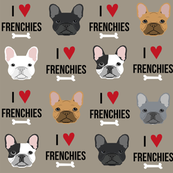 frenchie dog fabric - i love french bulldogs fabric - frenchie face - medium brown