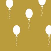 Balloons - white on mustard