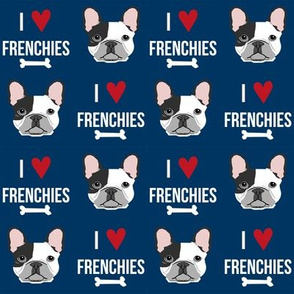 frenchie dog fabric - i love french bulldogs fabric - frenchie face - navy