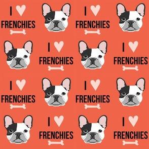 frenchie dog fabric - i love french bulldogs fabric - frenchie face - orange