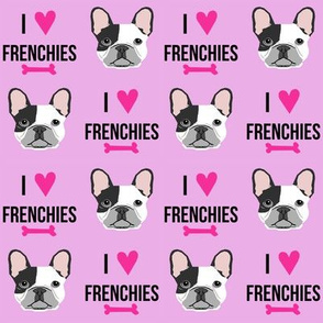 frenchie dog fabric - i love french bulldogs fabric - frenchie face - purple