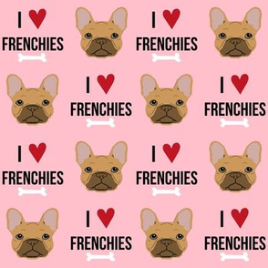 frenchie dog fabric - i love french bulldogs fabric - frenchie face - pink