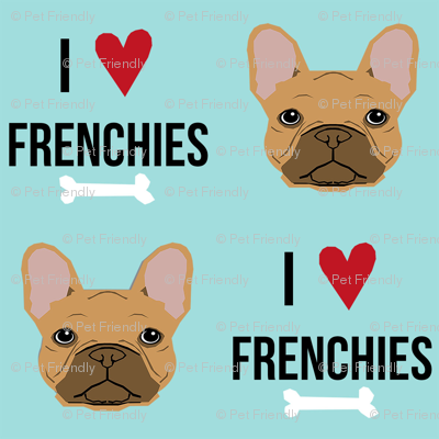 frenchie dog fabric - i love french bulldogs fabric - frenchie face - blue tint