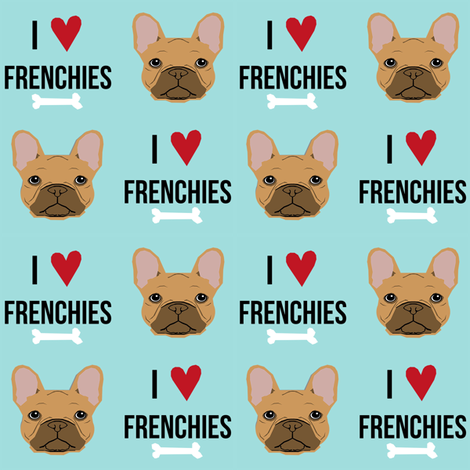 frenchie dog fabric - i love french bulldogs fabric - frenchie face - blue tint fabric by petfriendly on Spoonflower - custom fabric