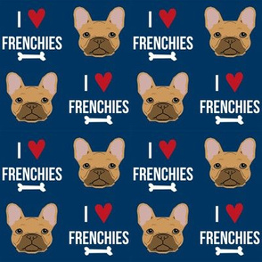 frenchie dog fabric - i love french bulldogs fabric - frenchie face- navy